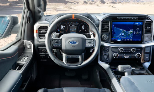 Interior of a 2021 Ford F-150 Raptor.